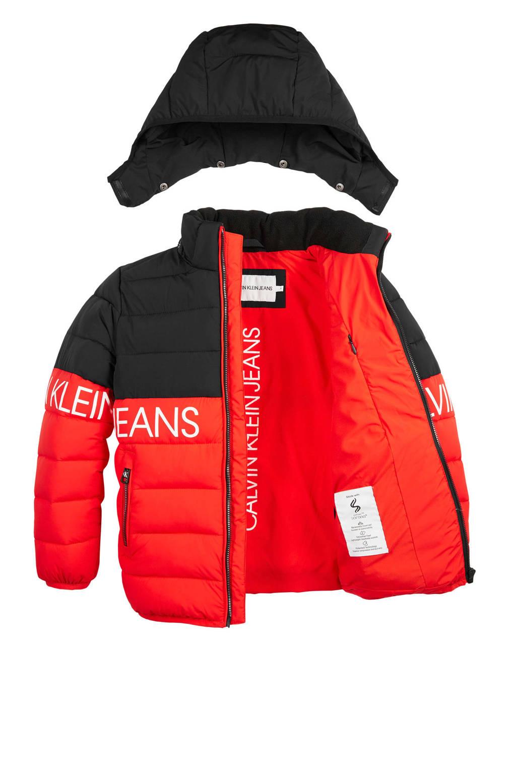 CALVIN KLEIN JEANS gewatteerde winterjas rood/zwart, Rood/zwart