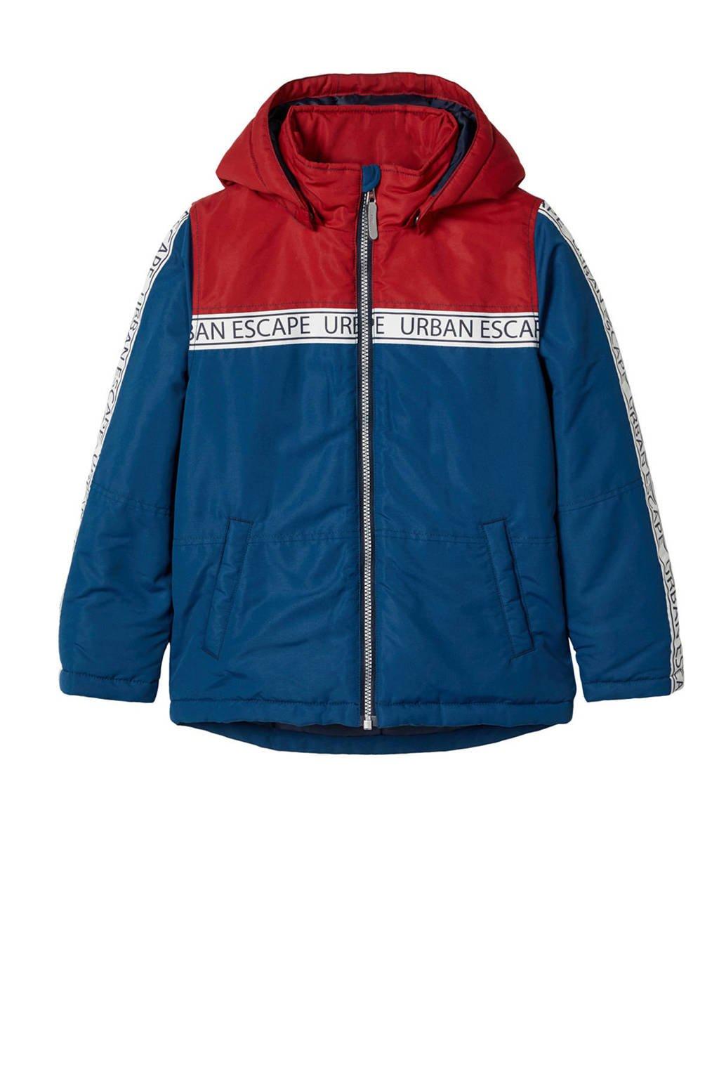 NAME IT KIDS gewatteerde winterjas Maxi blauw/rood, Blauw/rood