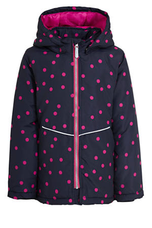 jack winter Maxi met stippen donkerblauw/roze