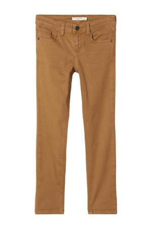 slim fit broek Theo met biologisch katoen bruin