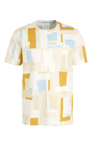 T-shirt met all over print oranje/wit/blauw