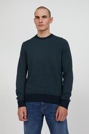 gestreepte trui van biologisch katoen donkerblauw