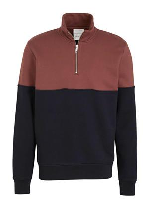 sweater van biologisch katoen donkerrood/donkerblauw