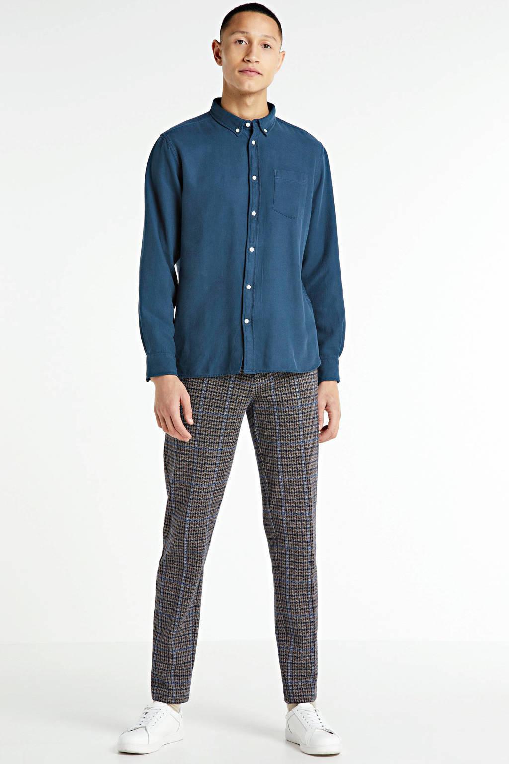 Knowledge Cotton Apparel regular fit overhemd blauw, Blauw
