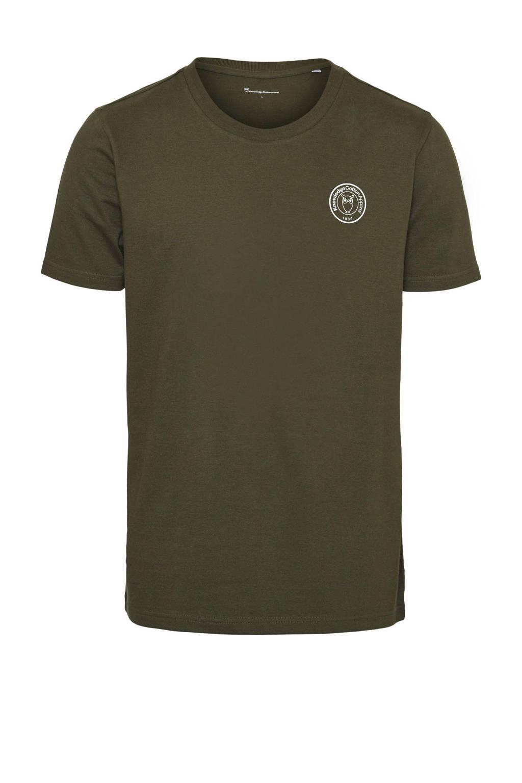 Knowledge Cotton Apparel T-shirt van biologisch katoen olijfgroen, Olijfgroen