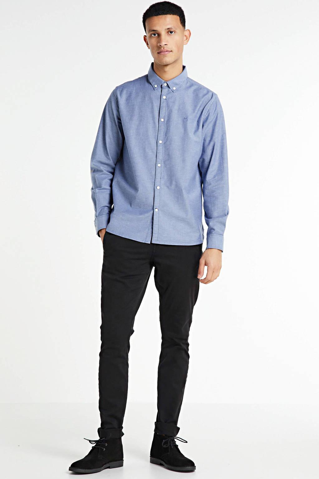 Knowledge Cotton Apparel slim fit overhemd denimblauw, Denimblauw