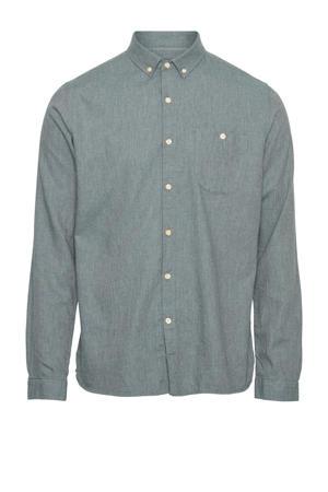 gemêleerd regular fit overhemd van biologisch katoen grijsblauw