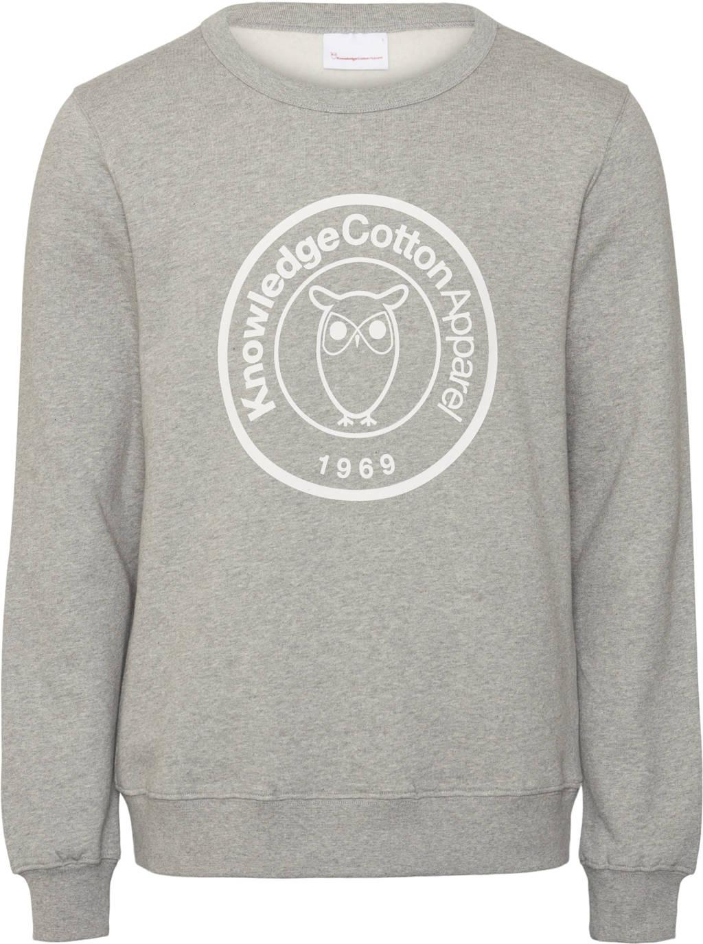 Knowledge Cotton Apparel sweater van biologisch katoen grijs melange, Grijs melange