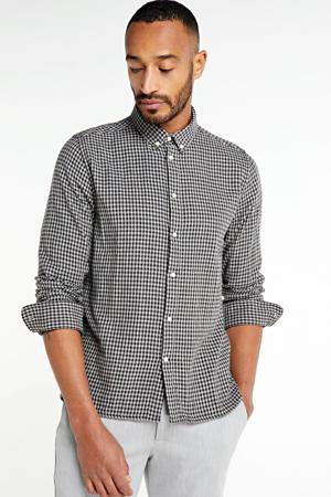 geruit regular fit overhemd Larch van biologisch katoen zwart/wit
