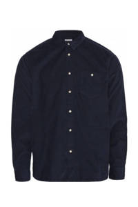Knowledge Cotton Apparel corduroy regular fit overhemd donkerblauw, Donkerblauw
