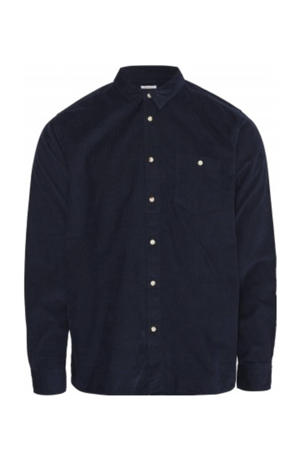 corduroy regular fit overhemd donkerblauw
