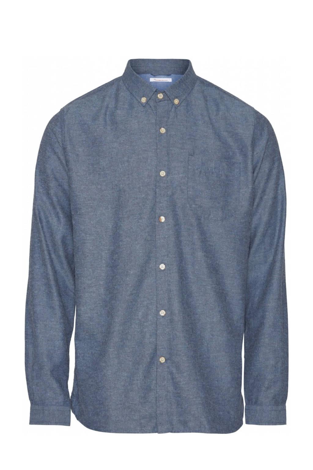 Knowledge Cotton Apparel gemêleerd regular fit overhemd van biologisch katoen blauw, Blauw
