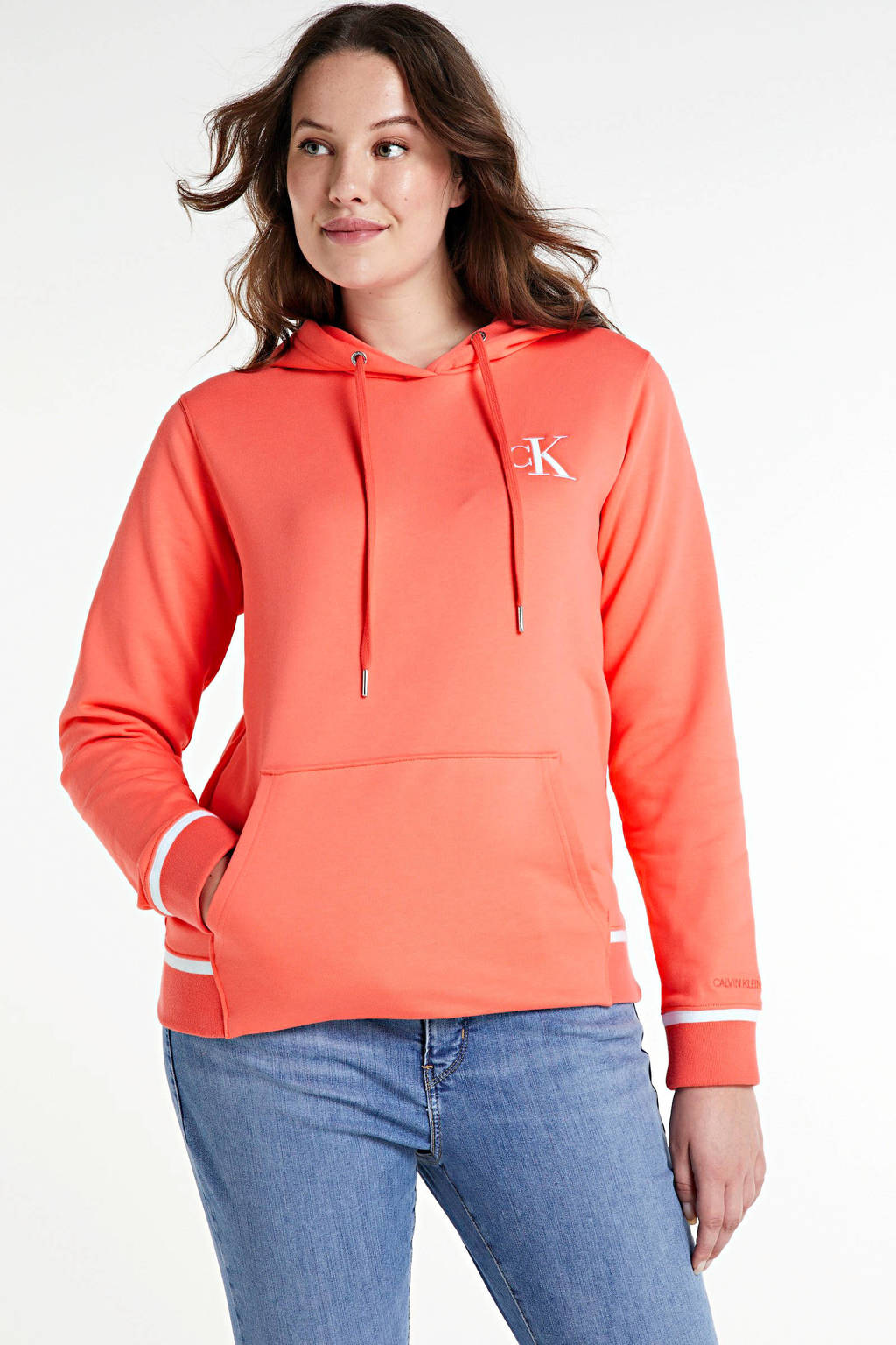 CALVIN KLEIN Plus regular fit hoodie van biologisch katoen island punch, Island Punch
