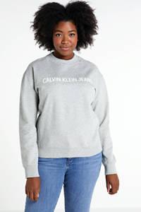 CALVIN KLEIN Plus sweater met logo lichtgrijs, Lichtgrijs