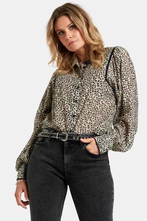 blouse Love met all over print ecru/zwart