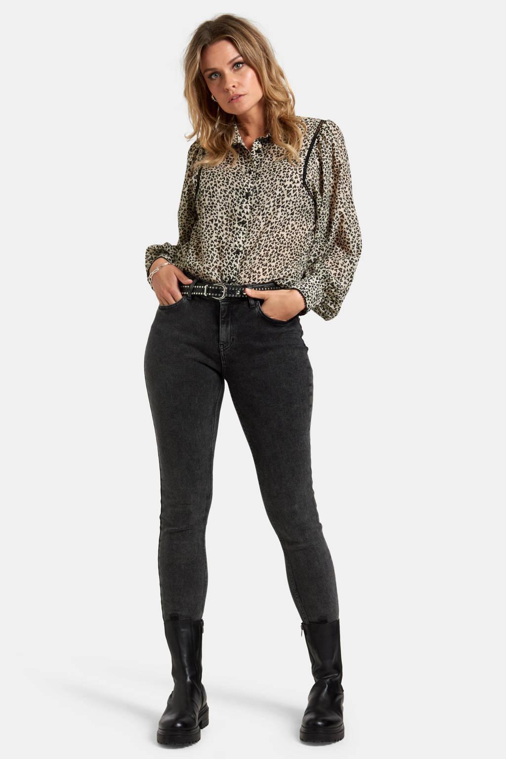 Eksept by Shoeby blouse Love met all over print ecru/zwart, Ecru/zwart