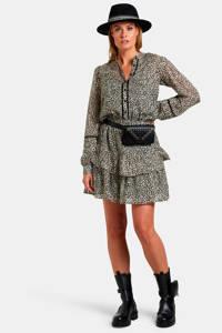 Eksept by Shoeby jurk met all over print en volant beige/zwart, Beige/zwart