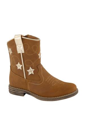 cowboylaarzen met sterren cognac/goud