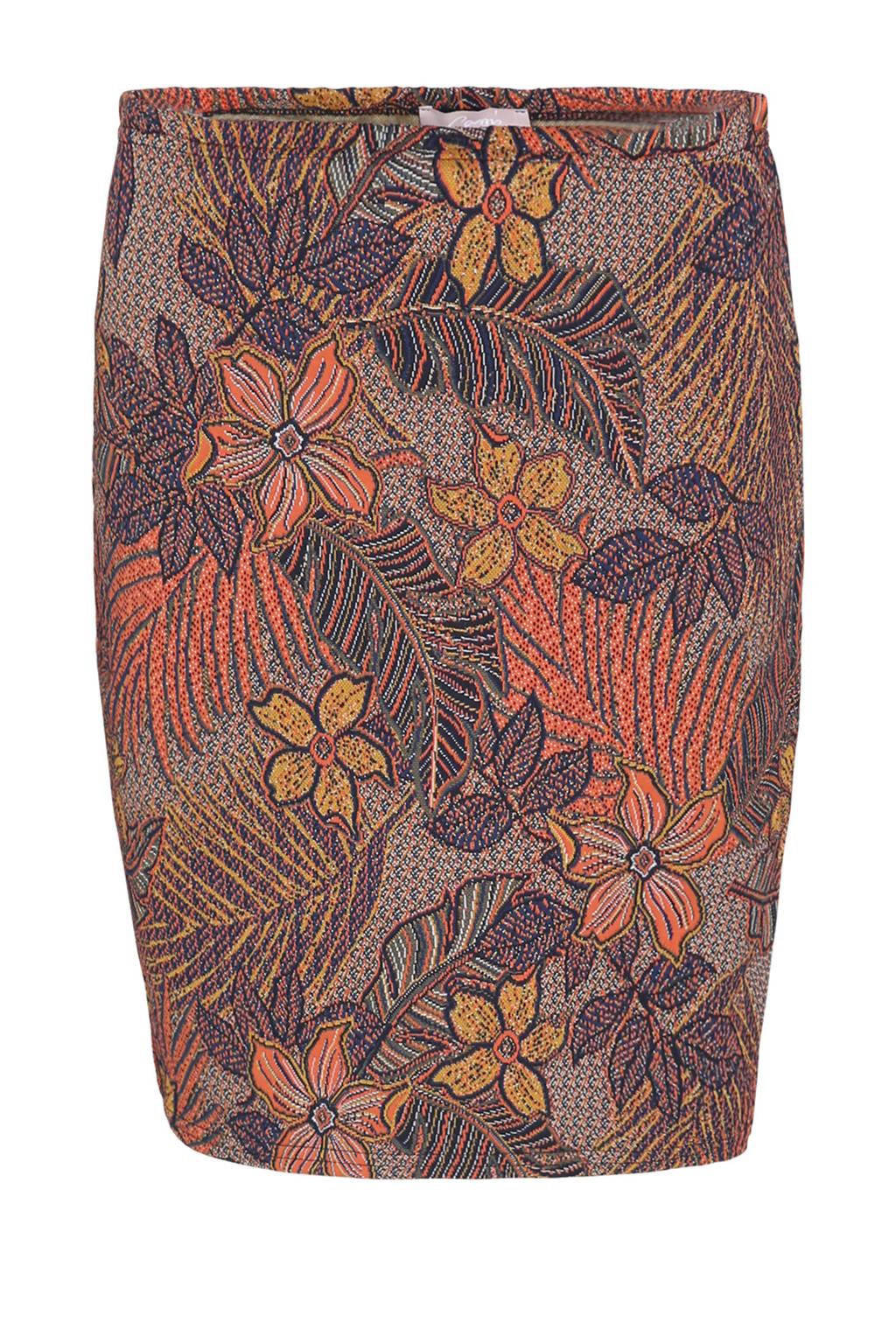 Cassis rok met all over print en borduursels paars/koraalrood/okergeel, Paars/koraalrood/okergeel