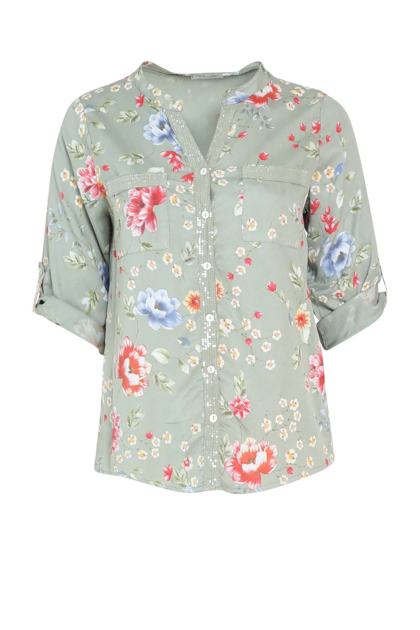 Paprika gebloemde blouse marinegroenroze | wehkamp