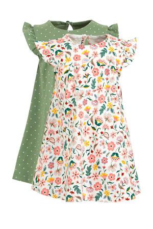 jersey jurk - set van 2 olijfgroen/wit/roze