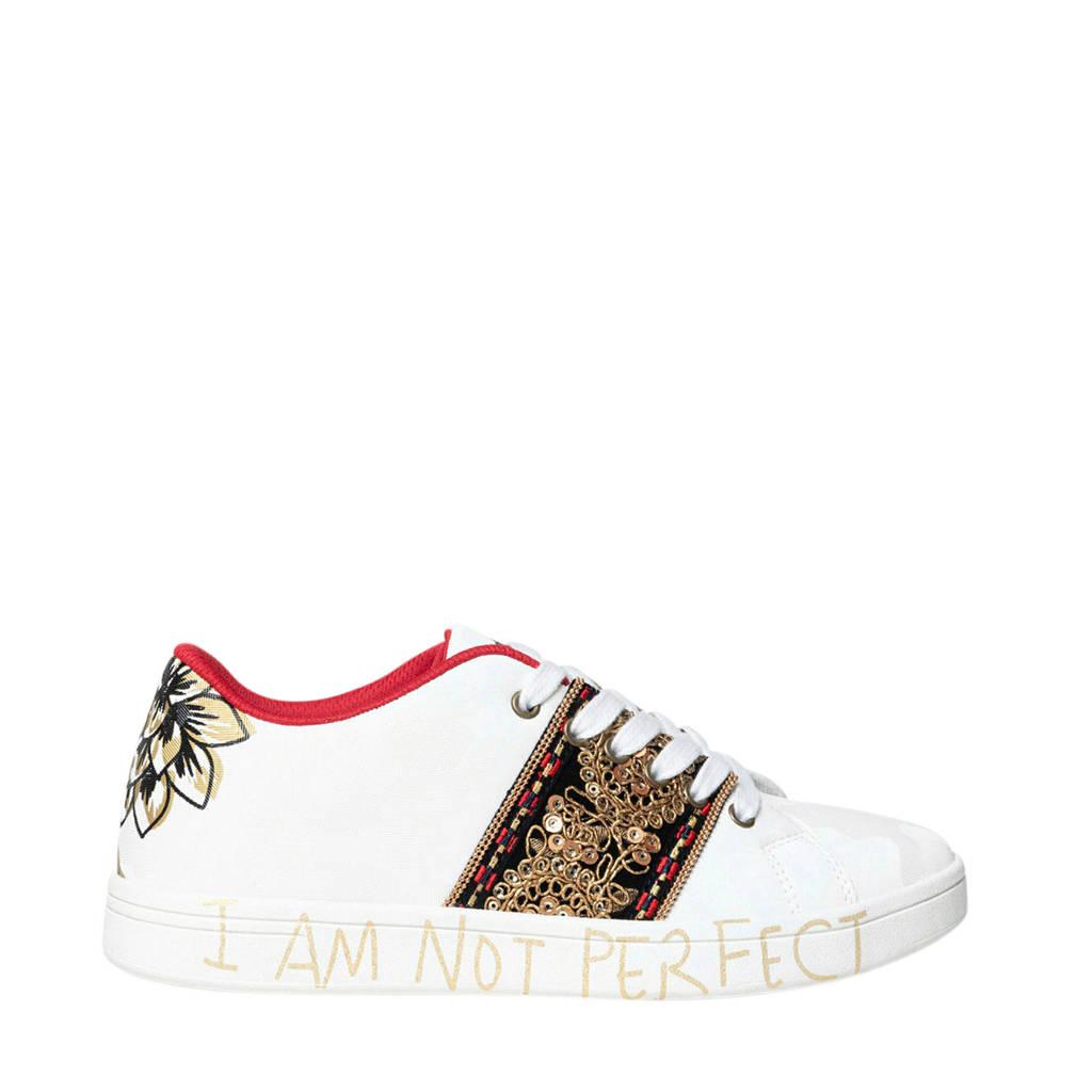 Desigual   sneakers met borduursels wit, Wit