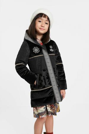 winterjas met all over print zwart
