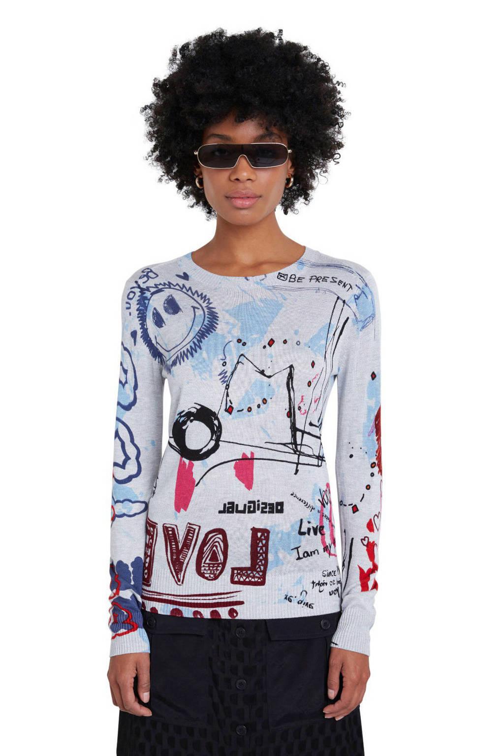 Desigual gebreide trui met all over print lichtgrijs/lichtblauw/rood, Lichtgrijs/lichtblauw/rood