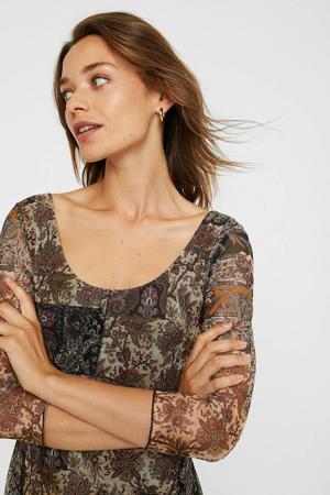 semi-transparante A-lijn jurk met paisleyprint en plooien bruin