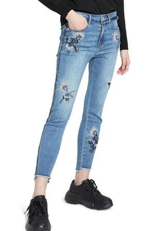 cropped skinny jeans met printopdruk en slijtage light denim/zwart/wit