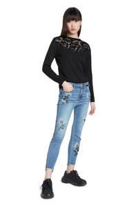 Desigual cropped skinny jeans met printopdruk en slijtage light denim/zwart/wit, Light denim/zwart/wit