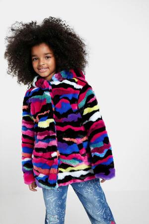 imitatiebont winterjas met all over print fuchsa/paars/multicolor