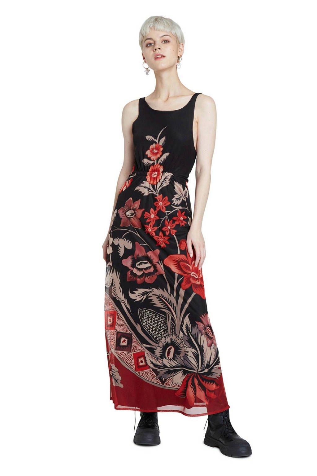 Desigual gebloemde maxi jurk zwart/rood, Zwart/rood
