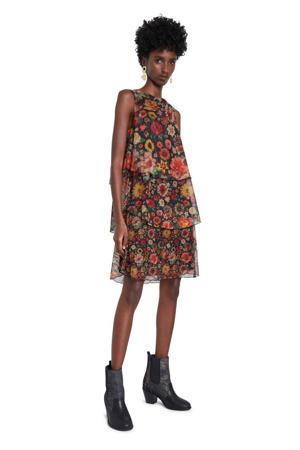 gebloemde semi-transparante jurk zwart/rood/oranje