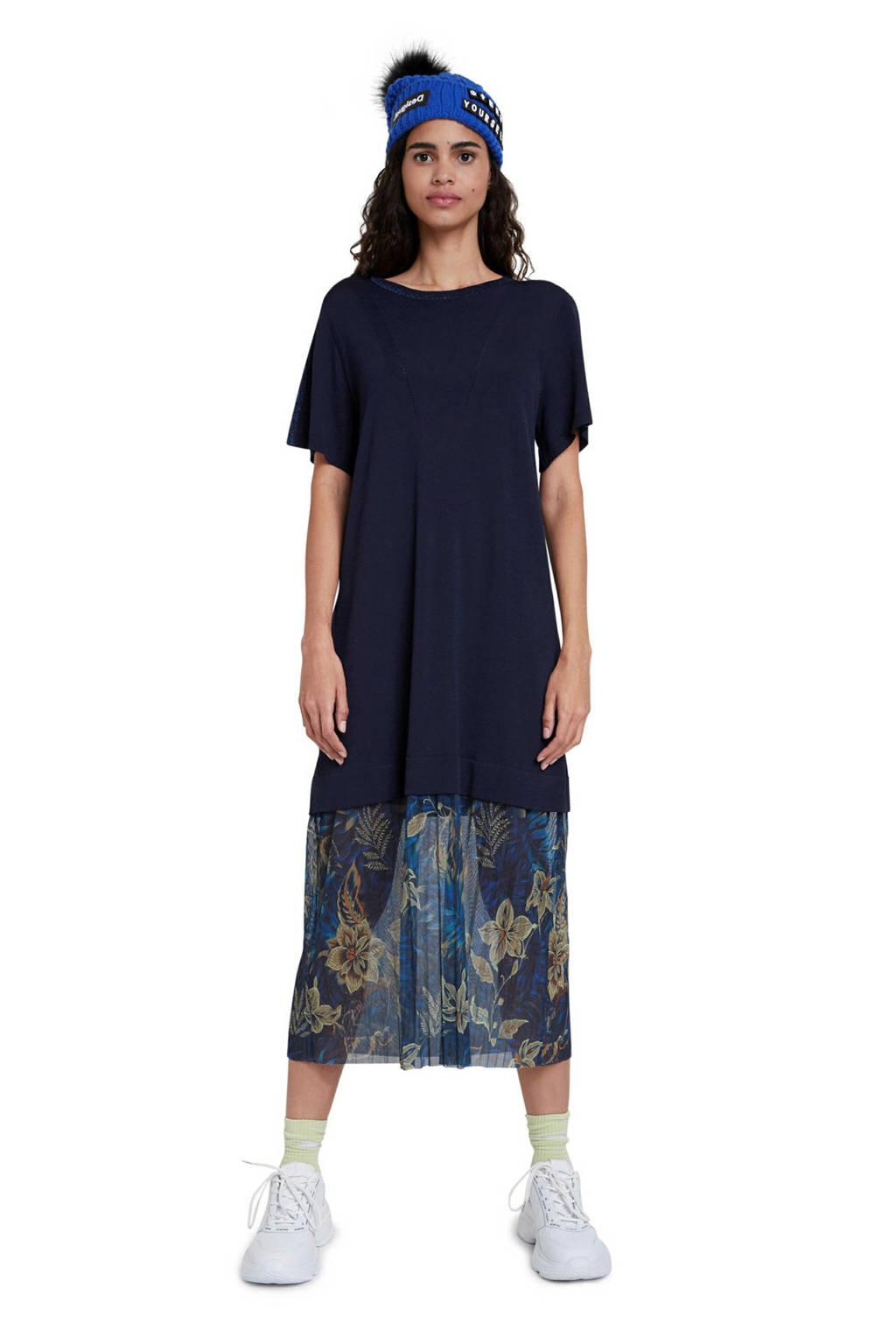 Desigual semi-transparante T-shirtjurk met glitters donkerblauw/blauw, Donkerblauw/blauw