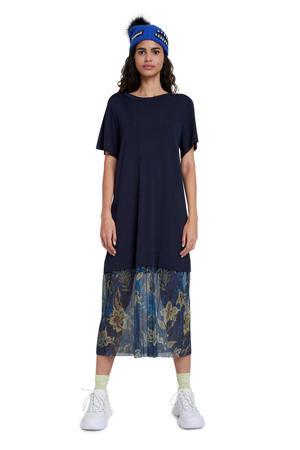 semi-transparante T-shirtjurk met glitters donkerblauw/blauw