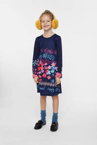 Desigual A-lijn jurk met all over print blauw/roze/rood, Blauw/Roze/Rood