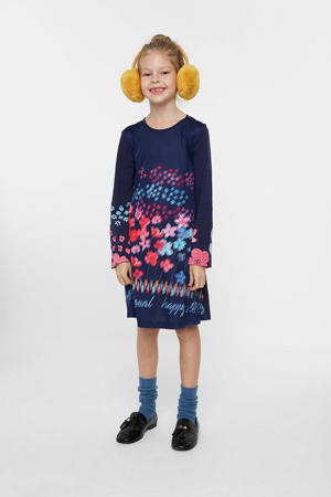 A-lijn jurk met all over print blauw/roze/rood