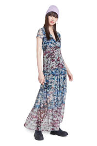 Desigual semi-transparante maxi jurk met all over print en ruches multi, Multi