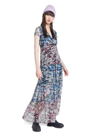 semi-transparante maxi jurk met all over print en ruches multi
