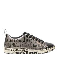 Desigual   sneakers met tekstopdruk zilver/zwart, Zilver/zwart