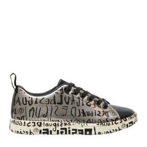 sneakers met tekstopdruk zilver/zwart