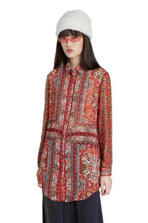 blouse met all over print rood/multi