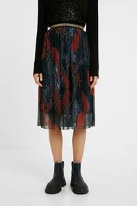 Desigual semi-transparante rok met all over print en strass steentjes zwart/rood/donkerblauw, Zwart/rood/donkerblauw