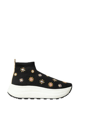chunky sneakers met borduursels zwart