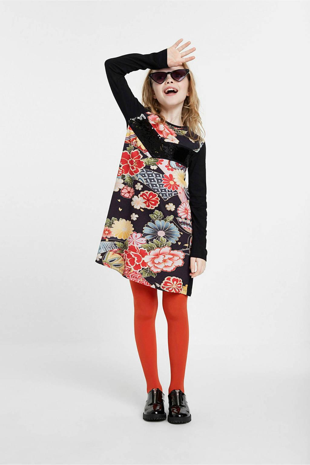 Desigual A-lijn jurk met printopdruk zwart/rood, Zwart/rood