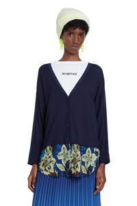 Desigual vest met semi-transparante onderkant, Donkerblauw/blauw/ecru