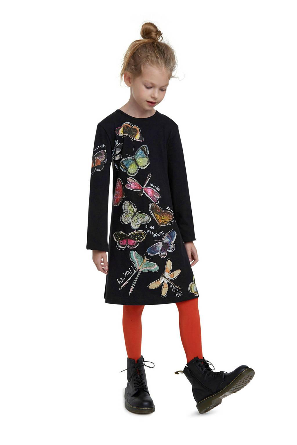 Desigual A-lijn jurk met printopdruk zwart/multicolor, Zwart/multicolor