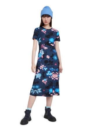 gebloemde T-shirtjurk donkerblauw/blauw/roze