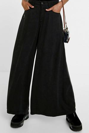 loose fit jeans met printopdruk en borduursels zwart/zilver